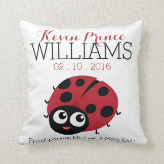 Cute Little RED LADYBUG Baby Birth keepsake Throw Pillow