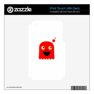 Cute little  Red monster on white iPod Touch 4G Decal