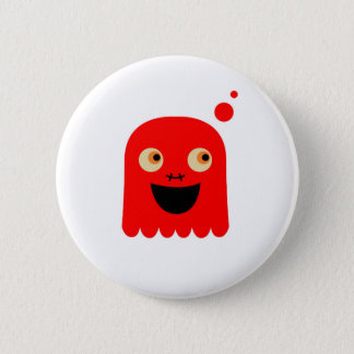 Cute little  Red monster on white Pinback Button