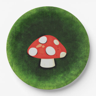 Cute Little Red Mushroom 9 Inch Paper Plate