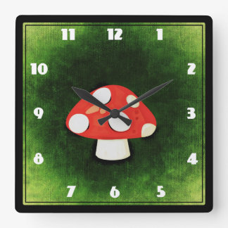 Cute Little Red Mushroom Square Wall Clocks