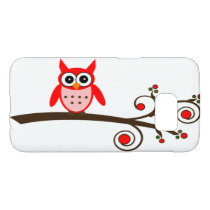 Cute Little Red Owl on Swirly Cherry Tree Samsung Galaxy S7 Case