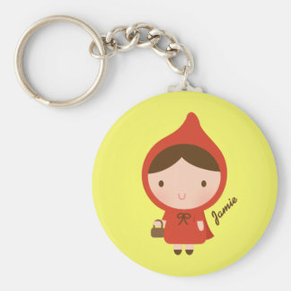 Cute Little Red Riding Hood Fairytale for Girls Basic Round Button Keychain
