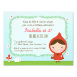 Cute Little Red Riding Hood Girl Birthday Party Card