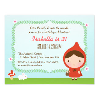Cute Little Red Riding Hood Girl Birthday Party Personalized Invitation