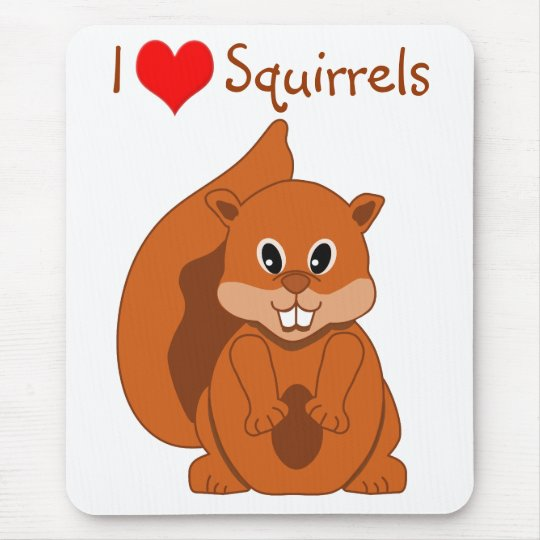 Cute Little Red Squirrel Cartoon Animal Mouse Pad
