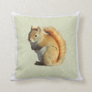 Cute Little Red Squirrel Sage Green Square Throw Pillow