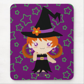Cute Little Redhead Witch Girl Mousepad