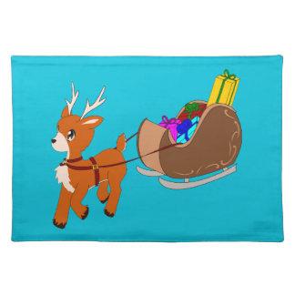 Cute Little Reindeer Christmas Place-Mat Cloth Placemat