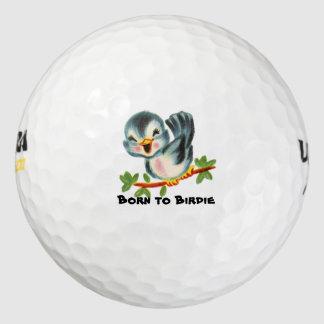 Cute Little Retro Bird Birdie Personalized Pack Of Golf Balls
