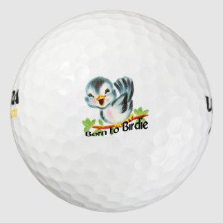 Cute Little Retro Bird Born to Birdie Golfers Gift Pack Of Golf Balls