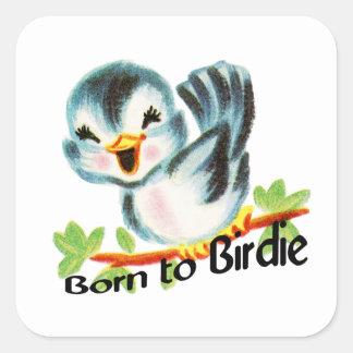Cute Little Retro Bird Born to Birdie Golfers Gift Square Sticker