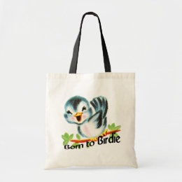 Cute Little Retro Bird Born to Birdie Golfers Gift Tote Bag