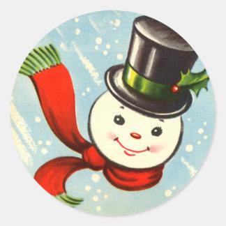 Cute Little Retro Snowman Classic Round Sticker