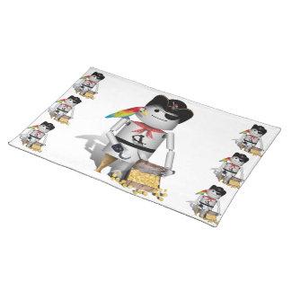 Cute Little Robot Pirate - Capt n Robo-x9 Place Mats