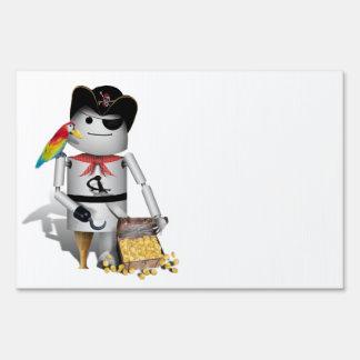 Cute Little Robot Pirate - Capt n Robo-x9 Yard Signs