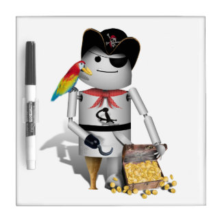 Cute Little Robot Pirate - Capt'n Robo-x9 Dry-Erase Whiteboard