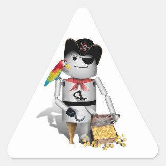 Cute Little Robot Pirate - Capt'n Robo-x9 Triangle Sticker