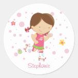 Cute little rollerskater girl personalized sticker