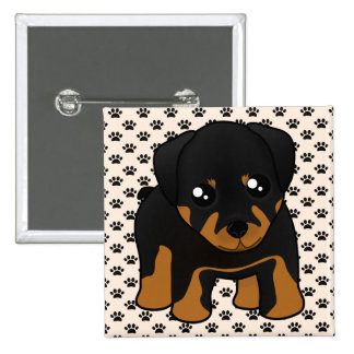Cute Little Rottweiler Puppy Dog Cartoon Animal Button