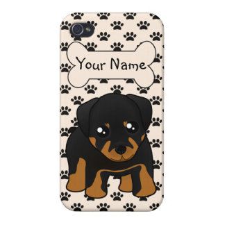 Cute Little Rottweiler Puppy Dog Cartoon Animal Cover For iPhone 4