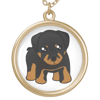 Cute Little Rottweiler Puppy Dog Cartoon Animal Gold Plated Necklace