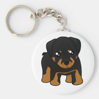 Cute Little Rottweiler Puppy Dog Cartoon Animal Keychain