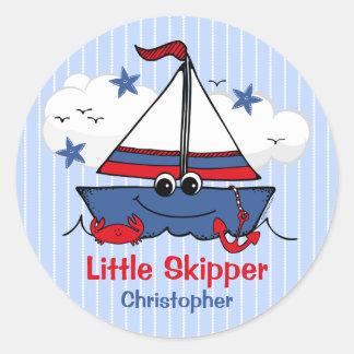Cute Little Sailboat Classic Round Sticker