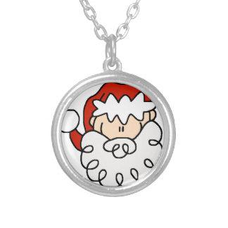 Cute little Santa Stick Figure Face Silver Plated Necklace