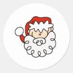 Cute little Santa Stick Figure Face Classic Round Sticker
