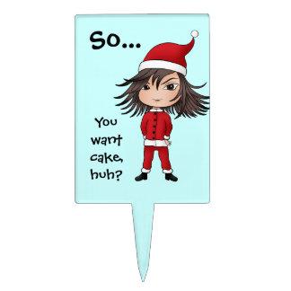 Cute little sarcastic Christmas elf chibi Cake Topper