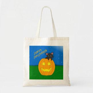 Cute Little Scruffy Halloween Kitten Tote Bag