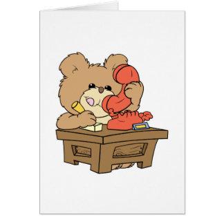 cute little secretary teddy bear design greeting card