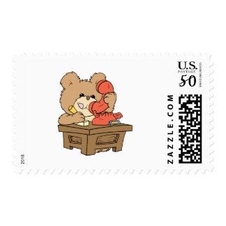 cute little secretary teddy bear design postage