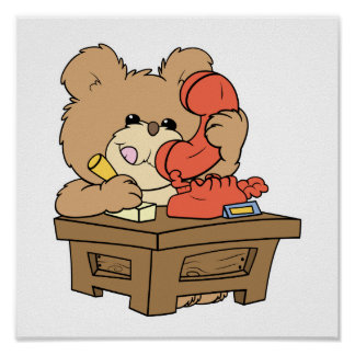 cute little secretary teddy bear design poster