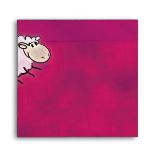 cute little sheep on dark pink envelope
