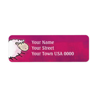 cute little sheep on dark pink label