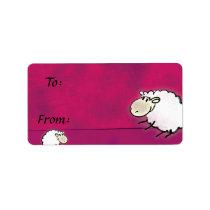 cute little sheep on dark pink label