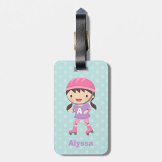 Cute Little Skater Girl Personalized Luggage Tag