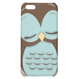 Cute Little Sleepy Hoot Owl in Aqua Teal Case For iPhone 5C