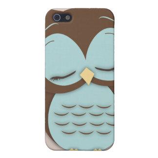 Cute Little Sleepy Hoot Owl in Aqua Teal iPhone 5 Case