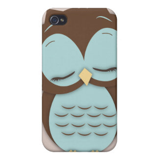 Cute Little Sleepy Hoot Owl in Aqua Teal iPhone 4/4S Cases
