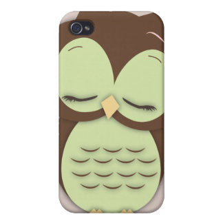 Cute Little Sleepy Hoot Owl in Mint Green Covers For iPhone 4