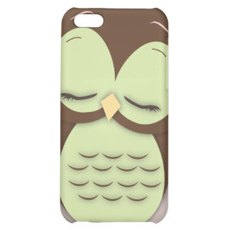 Cute Little Sleepy Hoot Owl in Mint Green Cover For iPhone 5C