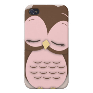Cute Little Sleepy Hoot Owl in Sweet Pink Covers For iPhone 4