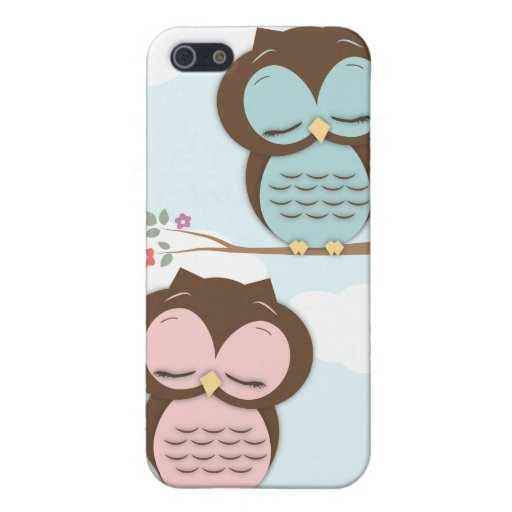 Cute Little Sleepy Hoot Owls in Pink & Teal Case For iPhone 5