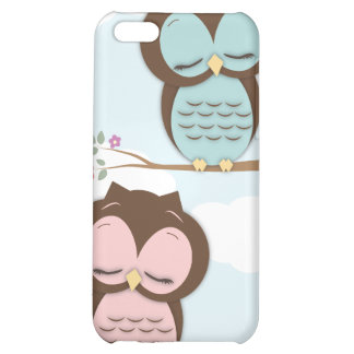 Cute Little Sleepy Hoot Owls in Pink & Teal Case For iPhone 5C