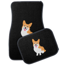 Cute Little Smiling Corgi Puppy Car Floor Mat