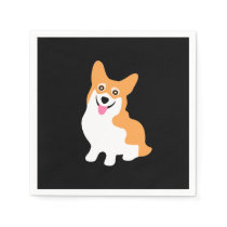 Cute Little Smiling Corgi Puppy Paper Napkin