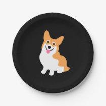 Cute Little Smiling Corgi Puppy Paper Plate